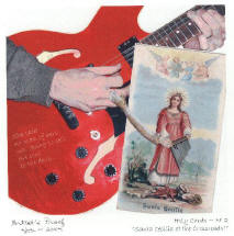 """Holy Cards No. 2, """"Santa Cecilia at the Crossroads?,"""" digital collage by Gayle Brennan Spencer, http://www.postcardssanantonio.com/holy-cards.html"""