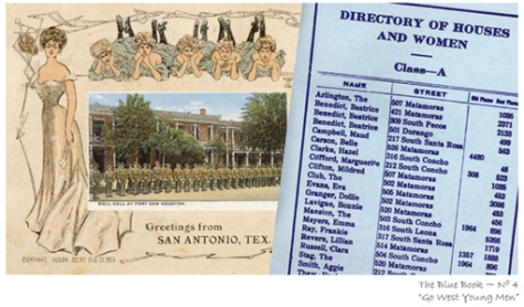 """Blue Book No. 4, """"Go West Young Men,"""" Digital Collage by Gayle Brennan Spencer. Early 1900s' postcard of some of San Antonio's blue ladies is combined with a period mini-postcard image of """"Roll Call at Fort Sam Houston"""" and a page from """"The Blue Book.""""  The page is headlined """"Directory of Houses and Women - Class-A"""" and lists the names and addresses of some of San Antonio's welcoming women in 1911.  Visit www.postcardsfromsanantonio.com."""